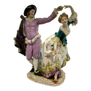 1900s Porcelain Figurine of Lady With Man Dancing For Sale