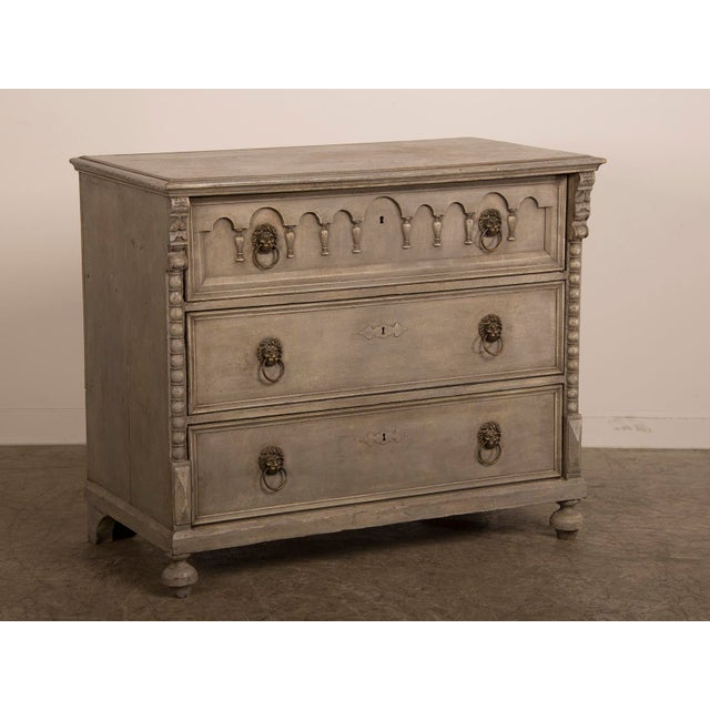 Antique English Tall Painted Three Drawer Chest circa 1850 - Image 2 of 11