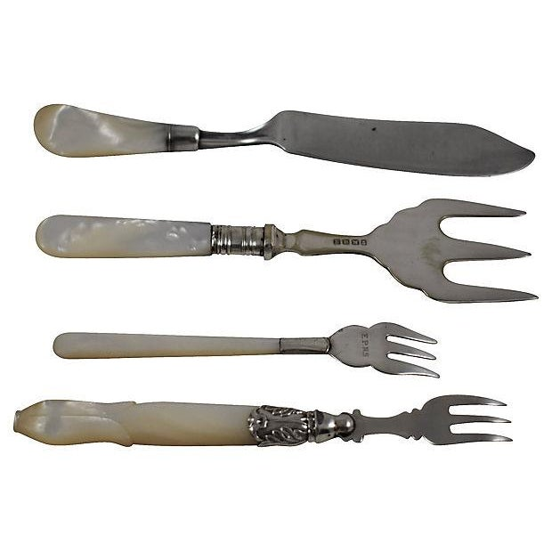Assorted 19th -C. English Pearl Handled & Silver Serving Flatware, a Mixed S/9 For Sale - Image 4 of 12