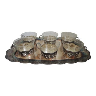 Turkish Tea Glass Demi Tasse Silver Base Cups Filigree Edge + Tray - Set of 13 For Sale