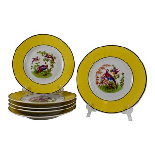 Rudolphstadt Prussia Porcelain Chinoiserie Bird Plates, S/6 For Sale