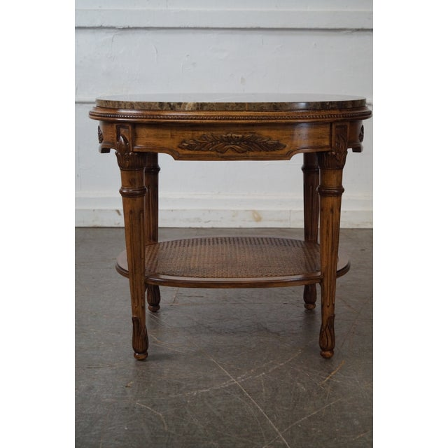 Jeffco Regency Style Oval Marble Top Side Table AGE/COUNTRY OF ORIGIN: Approx 20 years, America DETAILS/DESCRIPTION: High...