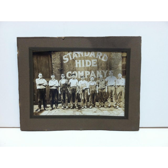 """Early 20th Century Antique """"Standard Hide Company"""" Mounted Black & Whited Photograph For Sale - Image 4 of 4"""
