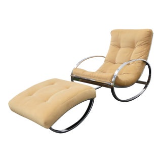 Renato Zevi for Selig Chrome Ellipse Rocking Chair With Ottoman For Sale