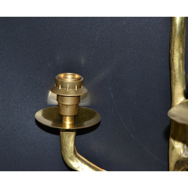 Metal Pair of Agostini Style Sconces Bronze With Black & Gold Shades, France 1950s For Sale - Image 7 of 13