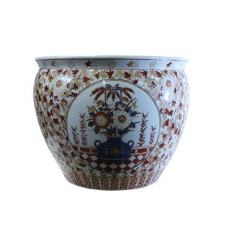 Chinese Oriental Vintage Porcelain Orange Imari Graphic Pot For Sale