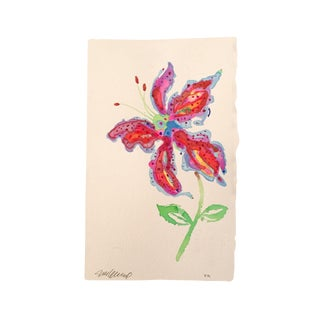 """Tropical Stargazer 2"" Original Watercolor Painting For Sale"