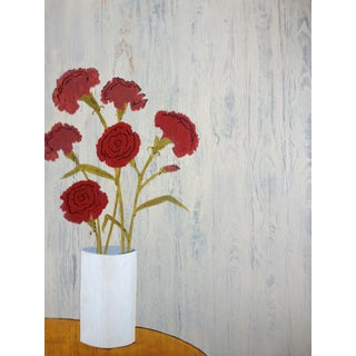 Wood Grain and Carnations Painting
