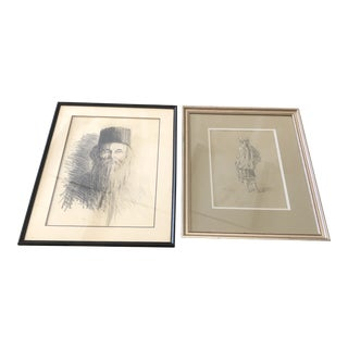 Framed Charcoal Portrait Sketches - A Pair For Sale