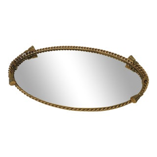 Vintage French Rope and Tassels Large Oval Brass Vanity Tray With Mirror For Sale