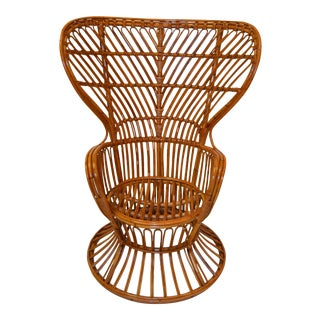 Vintage Franco Albini Hand-Woven Rattan / Wicker High Back Chair, Italy For Sale