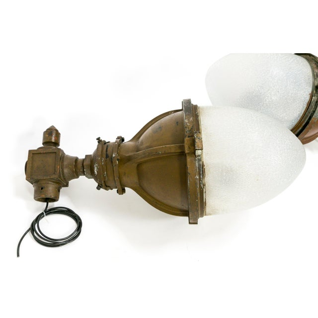 These two substantial, industrial lamps were once sconces (circa 1925-1940). They have very unique, rare, cone and...