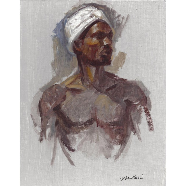 """Peter Oil Painting """"Man With Turban 1"""", Contemporary Nude Figure For Sale"""