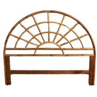 Bamboo Rattan Arched Queen Size Headboard For Sale