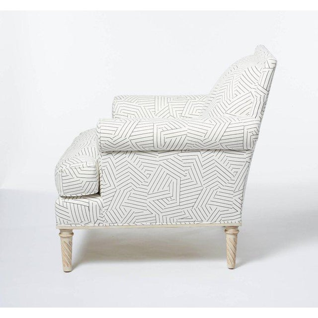 Wood Schumacher Jansen Deconstructed Stripe Maplewood-Legged Sock Arm Chair For Sale - Image 7 of 9