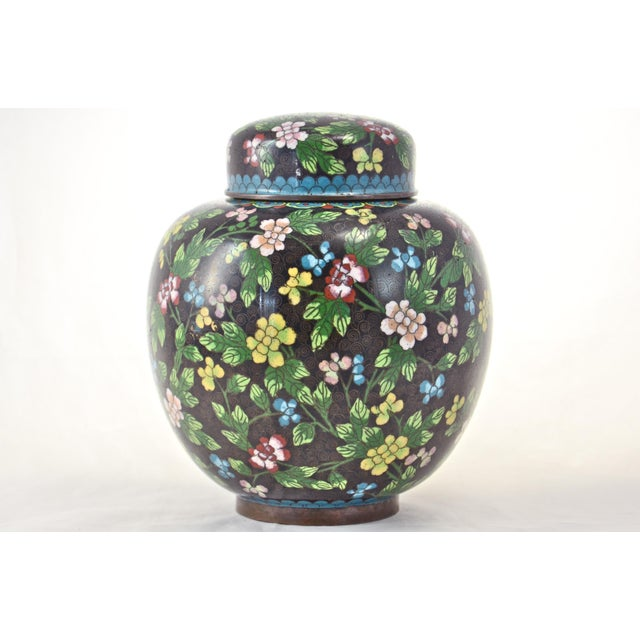 Antique Floral Cloisonné Longevity Jar For Sale - Image 4 of 9