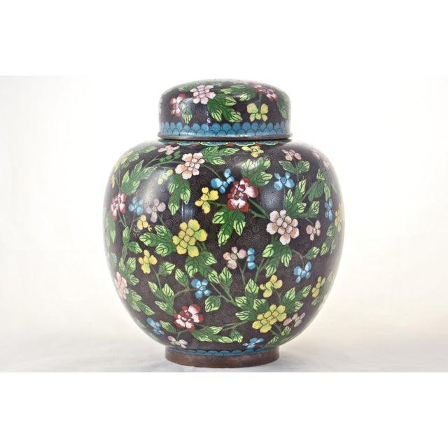 Antique Floral Cloisonné Longevity Jar - Image 4 of 9