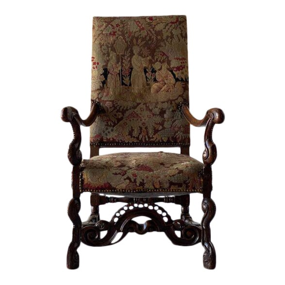 William IV Walnut Carved Armchair For Sale