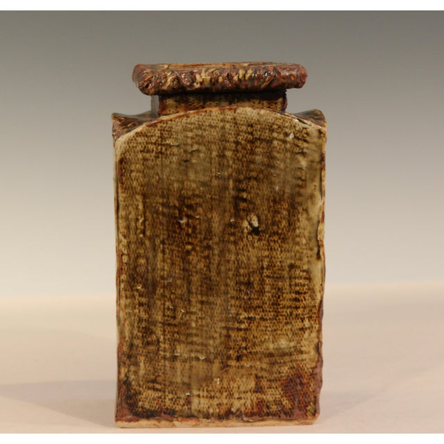 "Hand made studio pottery slab built rectangular vase with ""live edges"" and great green/brown flambe glaze, signed and..."