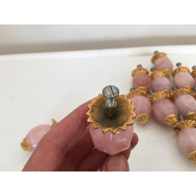 Sherle Wagner Pink Quartz & Gold Drawer Pulls - S/15 For Sale - Image 5 of 6
