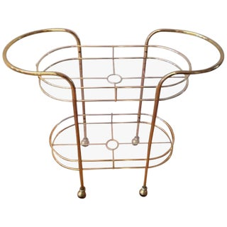 1970s Mid-Century Modern Brass Bar Cart