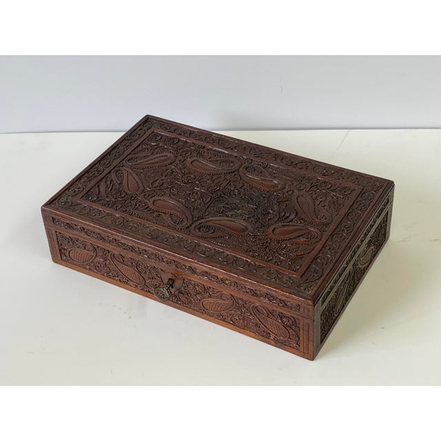 Early 20th Century Early 20th Century Wooden Carved Box For Sale - Image 5 of 13