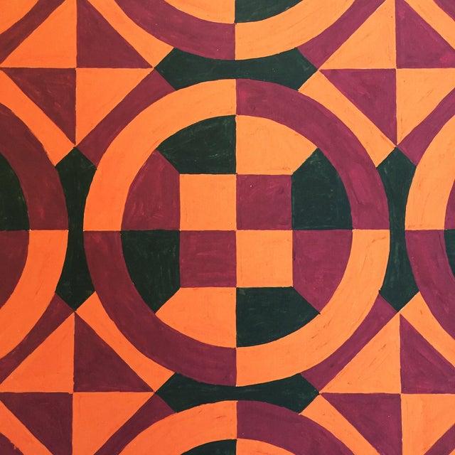 Mid-Century Geometric Pattern Painting - Image 4 of 4