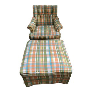 1970s Colored Plaid Chair & Ottoman - A Pair For Sale
