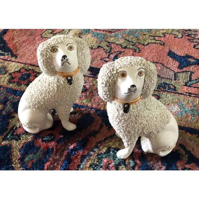 Late 19th Century Antique Staffordshire Poodle Dog Figurines- a Pair For Sale - Image 5 of 13