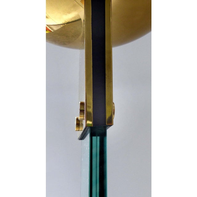 Italian Brass & Glass Mid-Century Torchiere Floor Lamp For Sale - Image 9 of 12