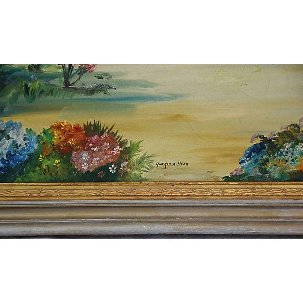Mid-Century Framed San Juan Capistrano Mission Oil Painting by Georgiana Hehr For Sale - Image 4 of 10