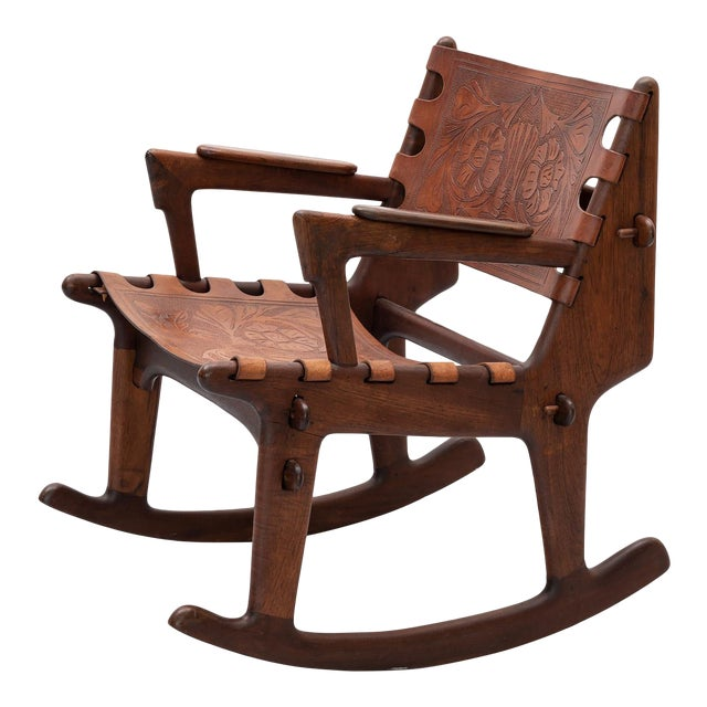Rosewood and Leather Rocker by Angel Pazmino, Ecuador, 1960s For Sale