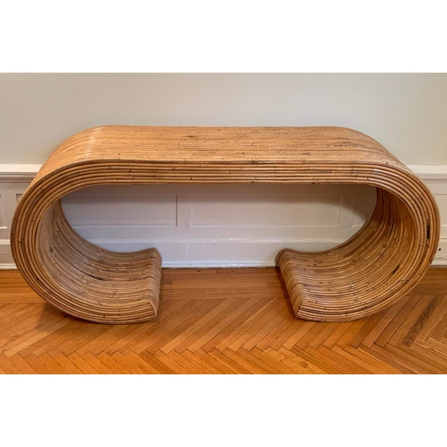 1970s Boho Chic Rattan Waterfall Console Table For Sale In New York - Image 6 of 6