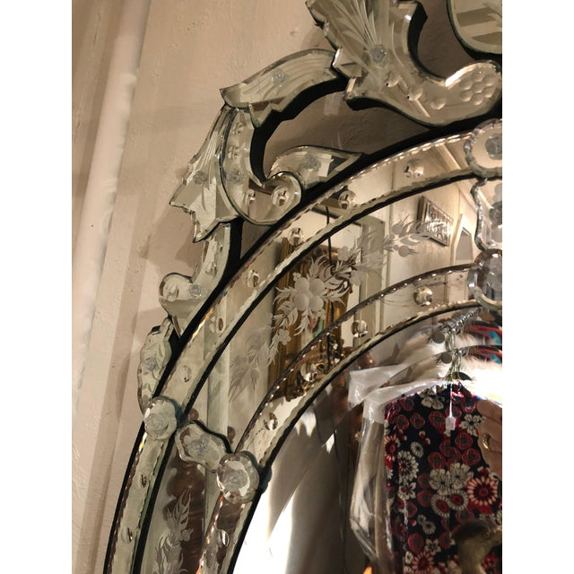 Glass Venetian Style Etched Oval Mirror For Sale - Image 7 of 11