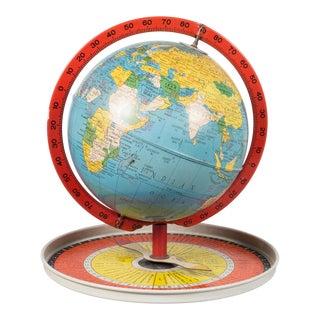 Antique Metal Replogle Travel Game Globe C.1950 For Sale