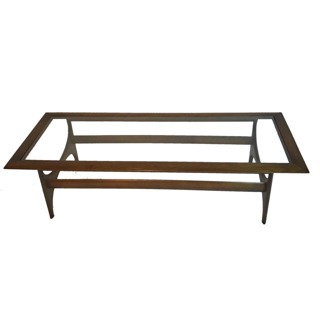 Danish Modern Mid-Century Modern Sculptural Walnut and Glass Rectangular Coffee Table by Lane For Sale - Image 3 of 5