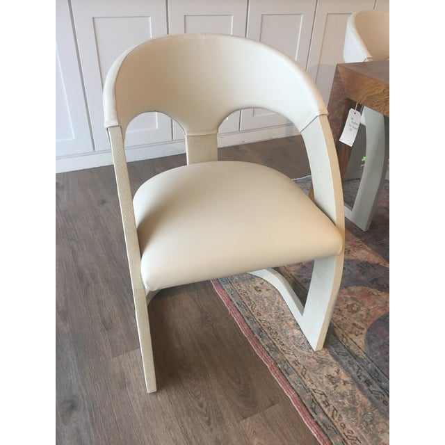 """6 emporium Home dining chairs. Mix of leather and shagreen that creates a modern space in any room. Seat height is 20""""...."""