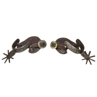 Antique Southwestern Mexican Border Silver Inlay Spurs - a Pair For Sale