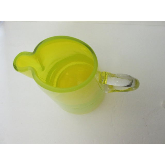 Mid-Century Yellow Glass Pitcher For Sale - Image 7 of 9