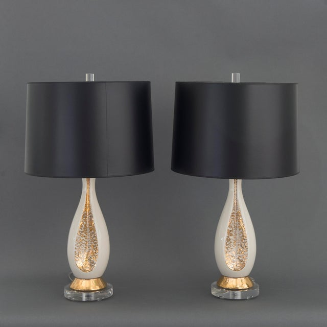 Danish Mid Century Modern Pr of Creamy White Porcelain w/ Gold Accents & Lucite Base Table Lamps - Image 2 of 6