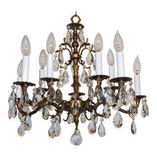 1950s French Brass 5 Arm 10 Light Lead Crystal Chandelier For Sale