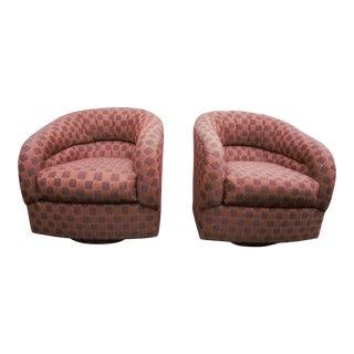 Orange Ward Bennett Style Swivel Chairs - A Pair