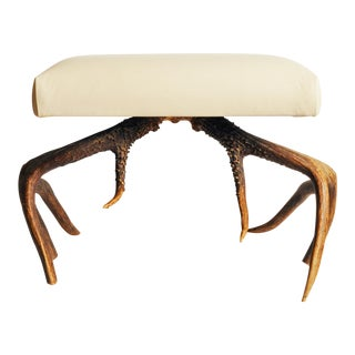Contemporary Custom Furniture Builders Antler Leather Stool