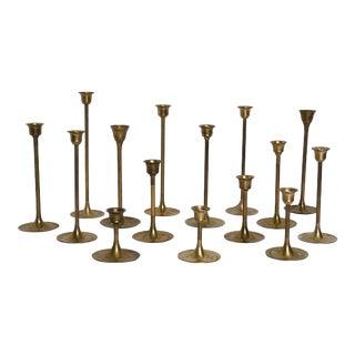 Mid Century Graduated Tulip Base Brass Candlesticks - Set of 15