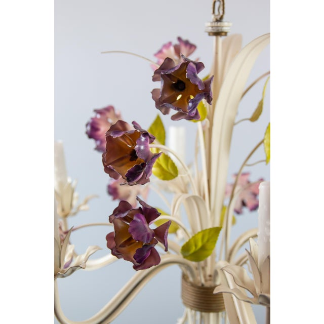 Farmhouse Vintage Mid-Century Italian Tole Poppies Six Arm Chandelier For Sale - Image 3 of 11