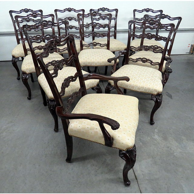 Yellow Georgian Style Ladder Back Dining Chairs - Set of 10 For Sale - Image 8 of 8