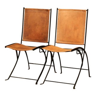 Pair of Mid-20th Century French Iron and Leather Folding Chairs For Sale