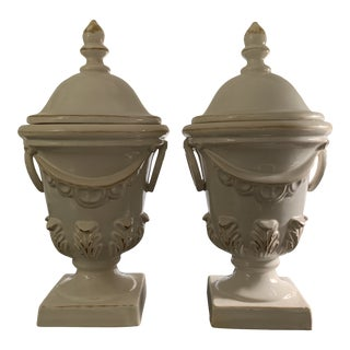 1990s Vintage Country French Medium White Urns - a Pair For Sale