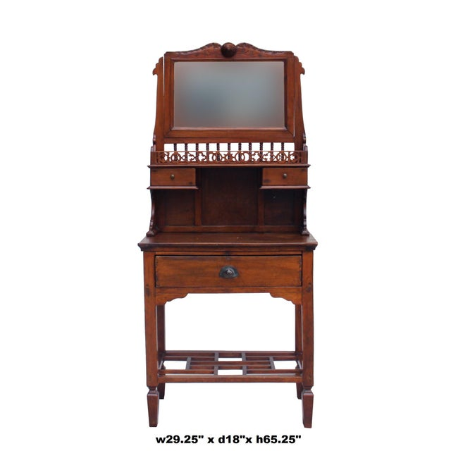 Wood Chinese Oriental Vintage Wash Basin Make Up Vanity Table Chest For Sale - Image 7 of 8