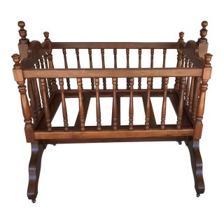 Vintage High Quality Chippendale Style Solid Cherry Swinging Bassinet For Sale